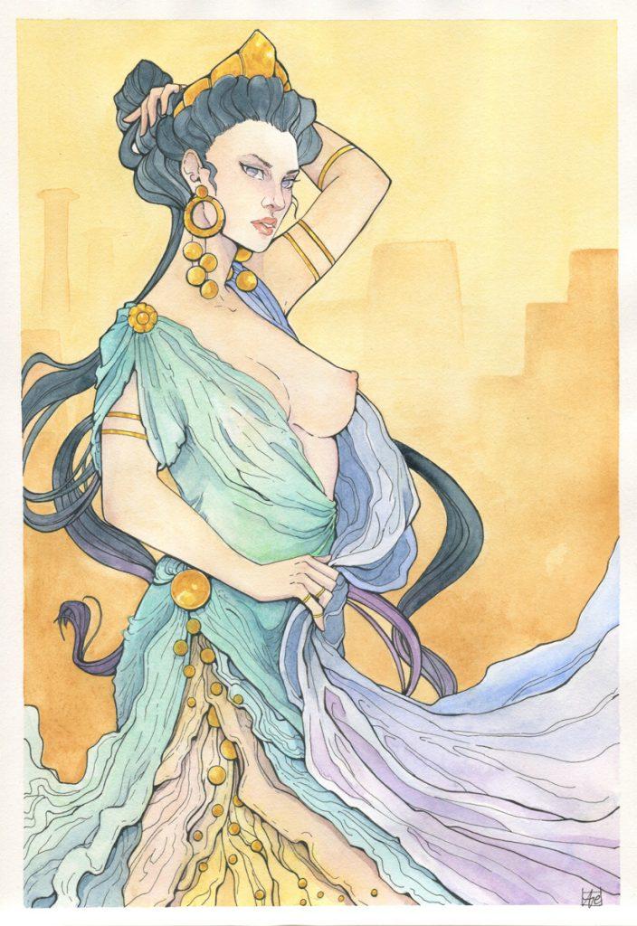 Illustration de la déesse Héra à l'aquarelle