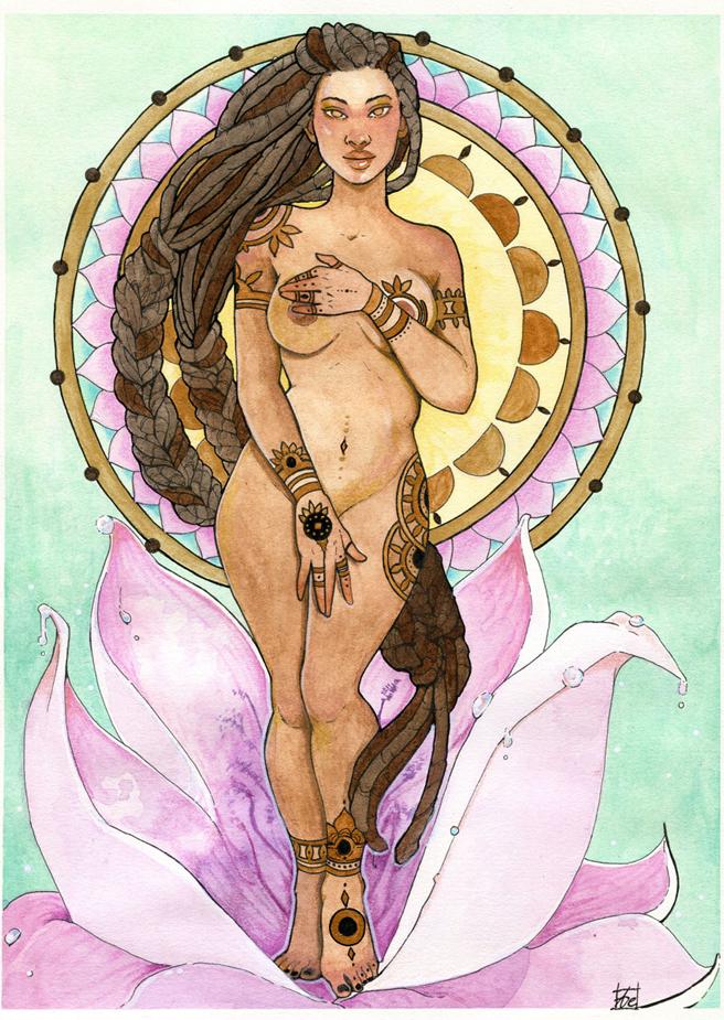Aphrodite, déesse de l'amour - aquarelle par Aemarielle