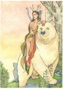 illustration de la déesse Artémis par Aemarielle à l'aquarelle