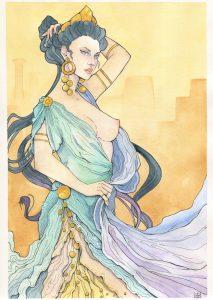 Illustration de la déesse Héra à l'aquarelle par Aemarielle