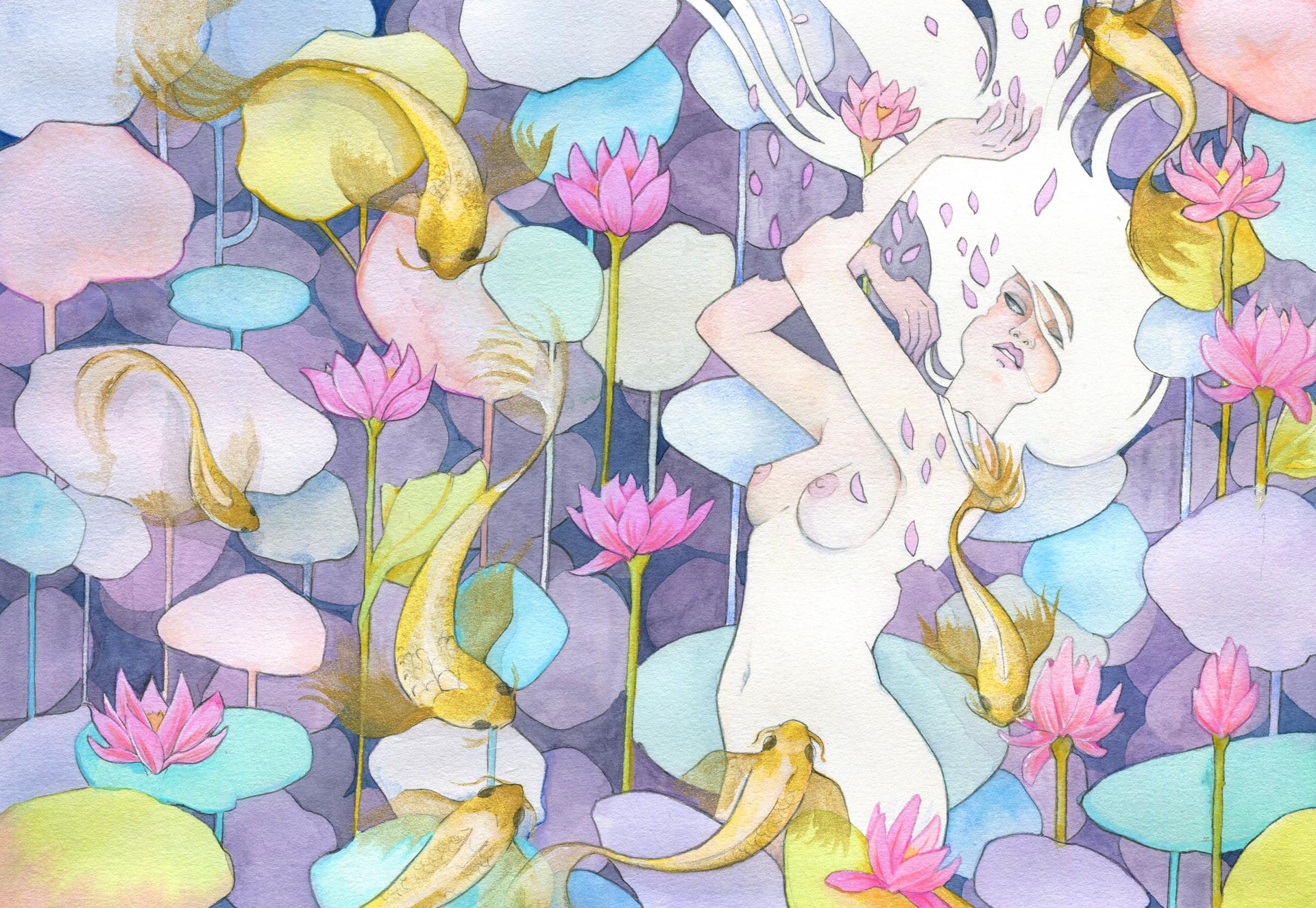 L'étang aux lotus - femme nue dansant avec des poissons