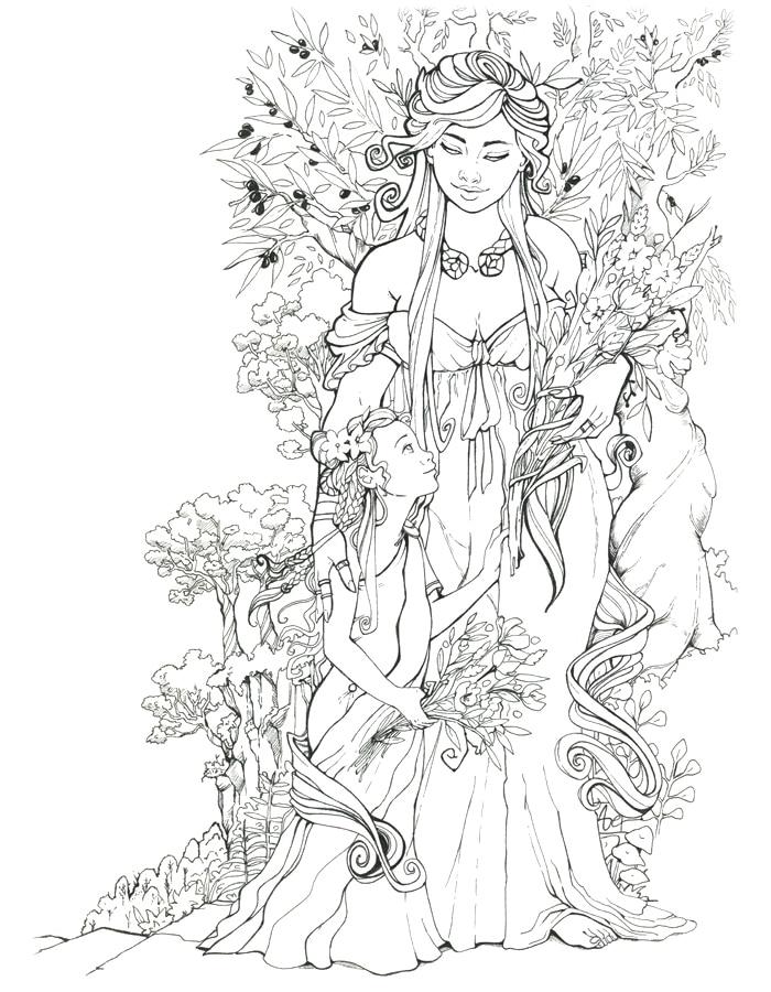 Déméter et Coré | mère et fille | illustration encre de Chine