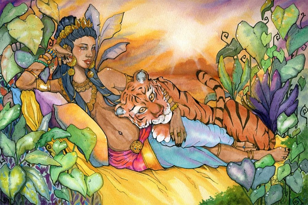 Maharani et son tigre familier - aquarelle