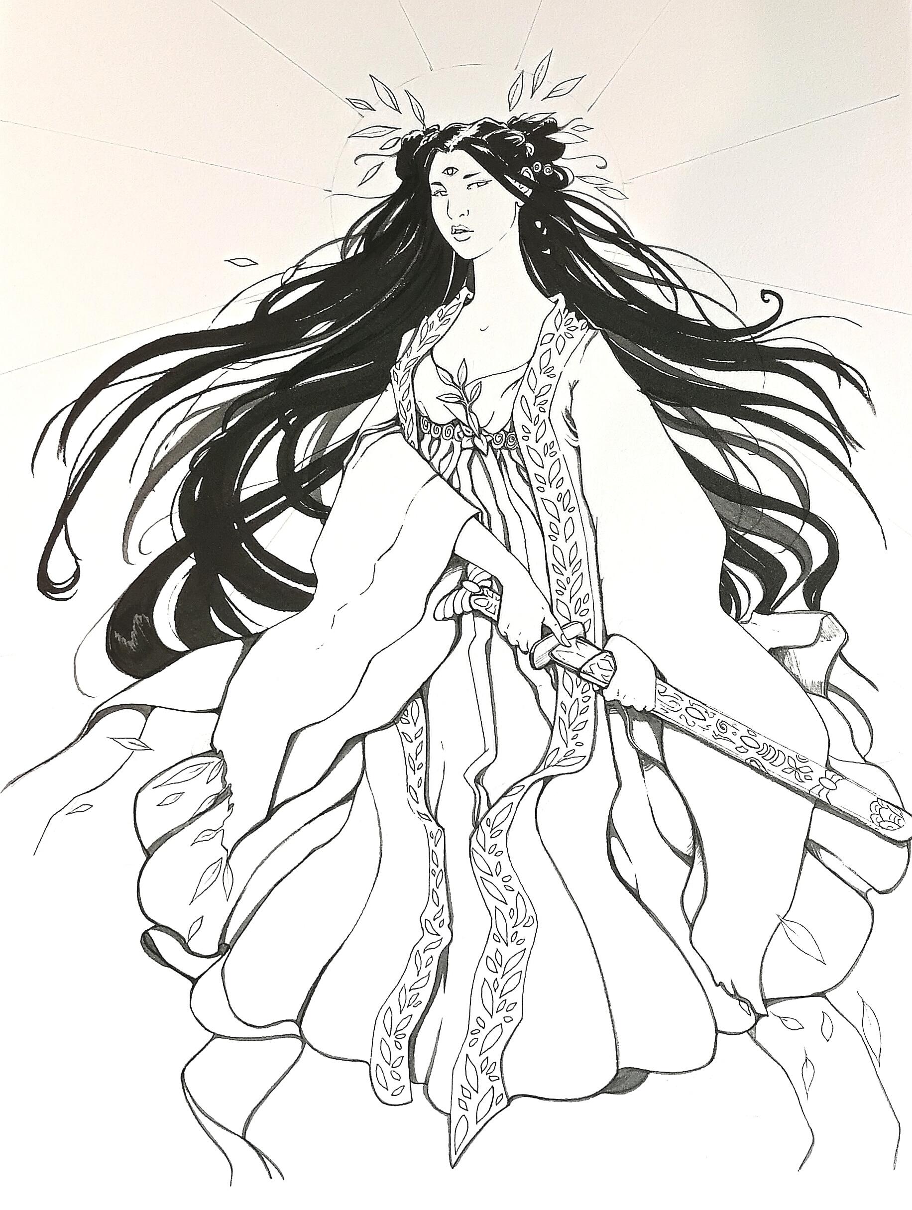 Amaterasu- encrage-dessin-Aemarielle