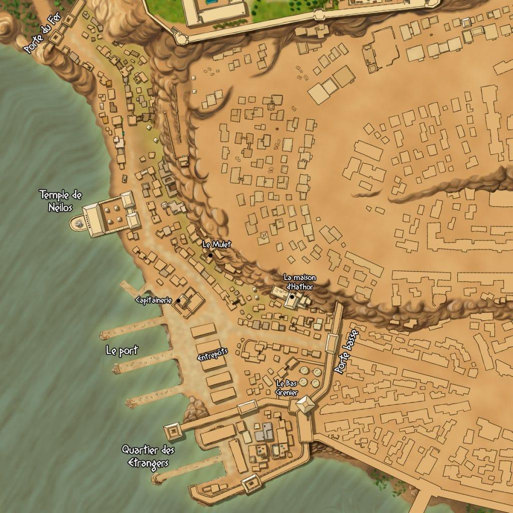 Carte du quartier portuaire de Djedou - Le Cycle du Dieu Noir