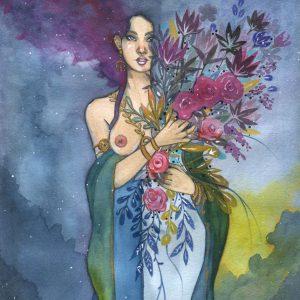 Fleur Noire - prêtresse portant un bouquet de fleurs