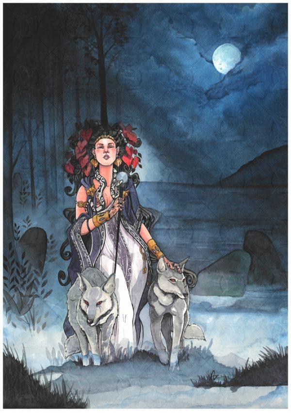 Hécate et ses loups sous la pleine lune