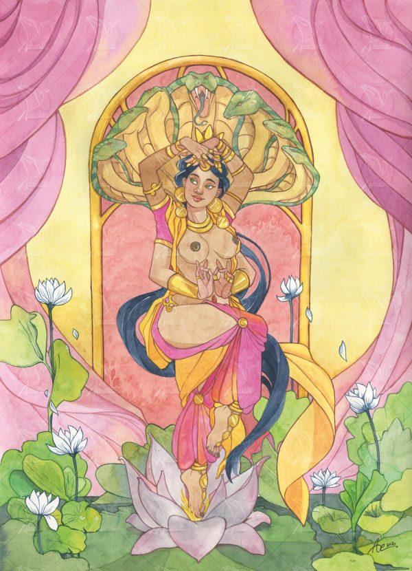 Lalita - aquarelle d'une déesse indienne en train de danser au milieu des nénuphars