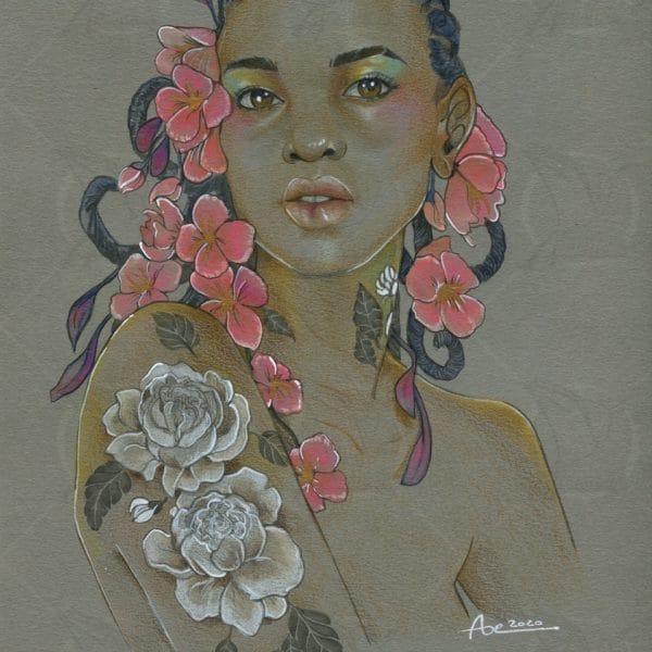 À fleur de peau - dessin crayon de couleurs aquarellables sur papier gris