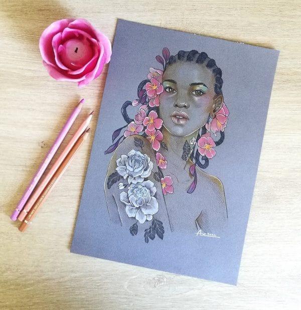 À fleur de peau - photo en situation- crayons de couleurs - femme-fleur