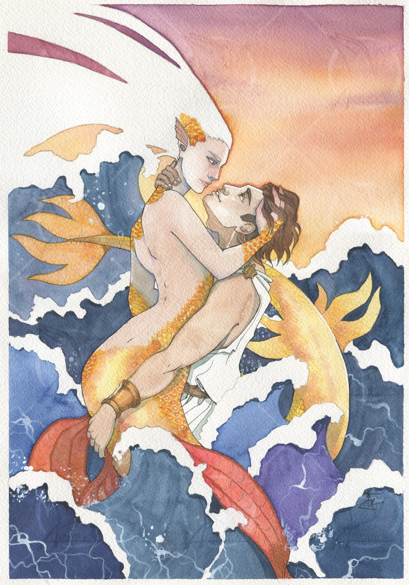 Aquarelle-originale-étreinte-sirène-marin