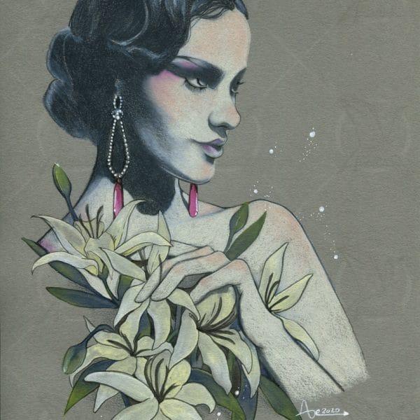 Film noir - dessin au crayons de couleurs aquarellables sur papier gris