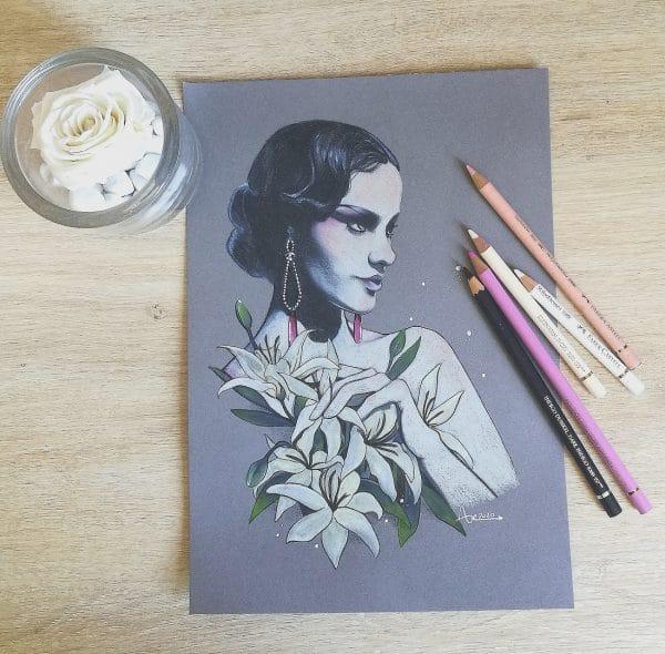 Film noir - format carré - dessin original sur papier gris - femme-fleur