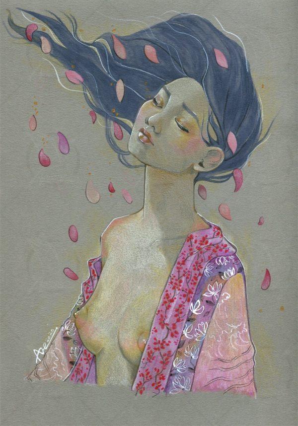 dessin sur papier gris - crayons de couleurs - Rose aux joues et poudre d'or