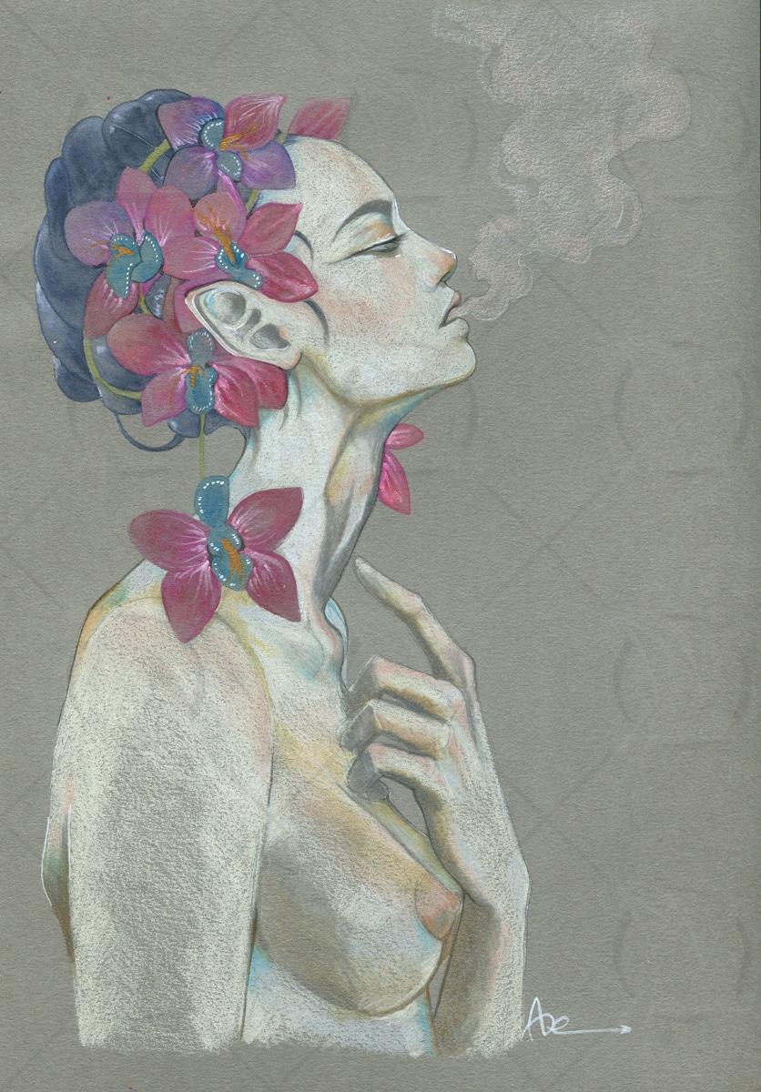 Dessin sur papier gris-crayons de couleur- parfum capiteux orchidée
