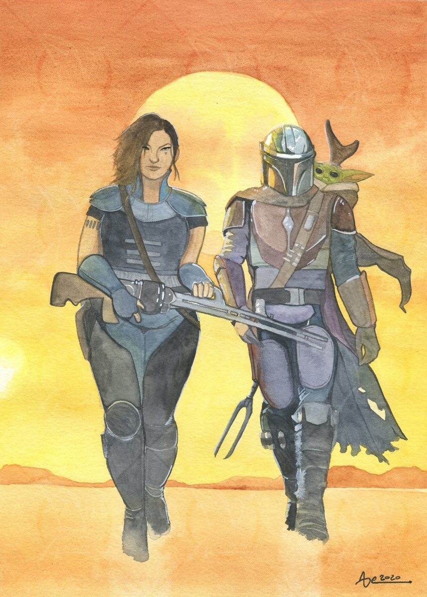 The Mandalorian - fanart aquarelle