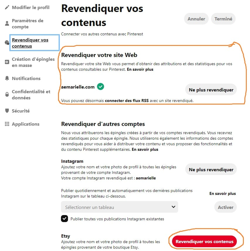 Comment utiliser Pinterest - revendiquer son site web