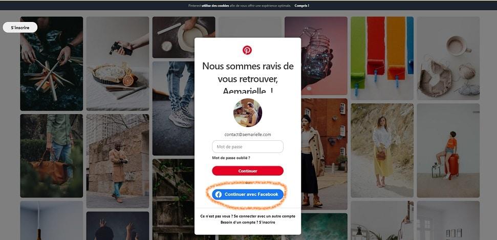 Comment utiliser Pinterest - Se connecter avec Facebook