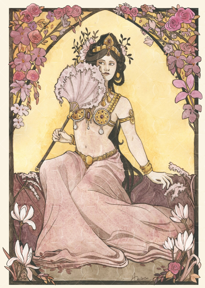 Mata Hari - Illustration aquarelle pour l'anthologie Belle Epoque- éditions Luciférines