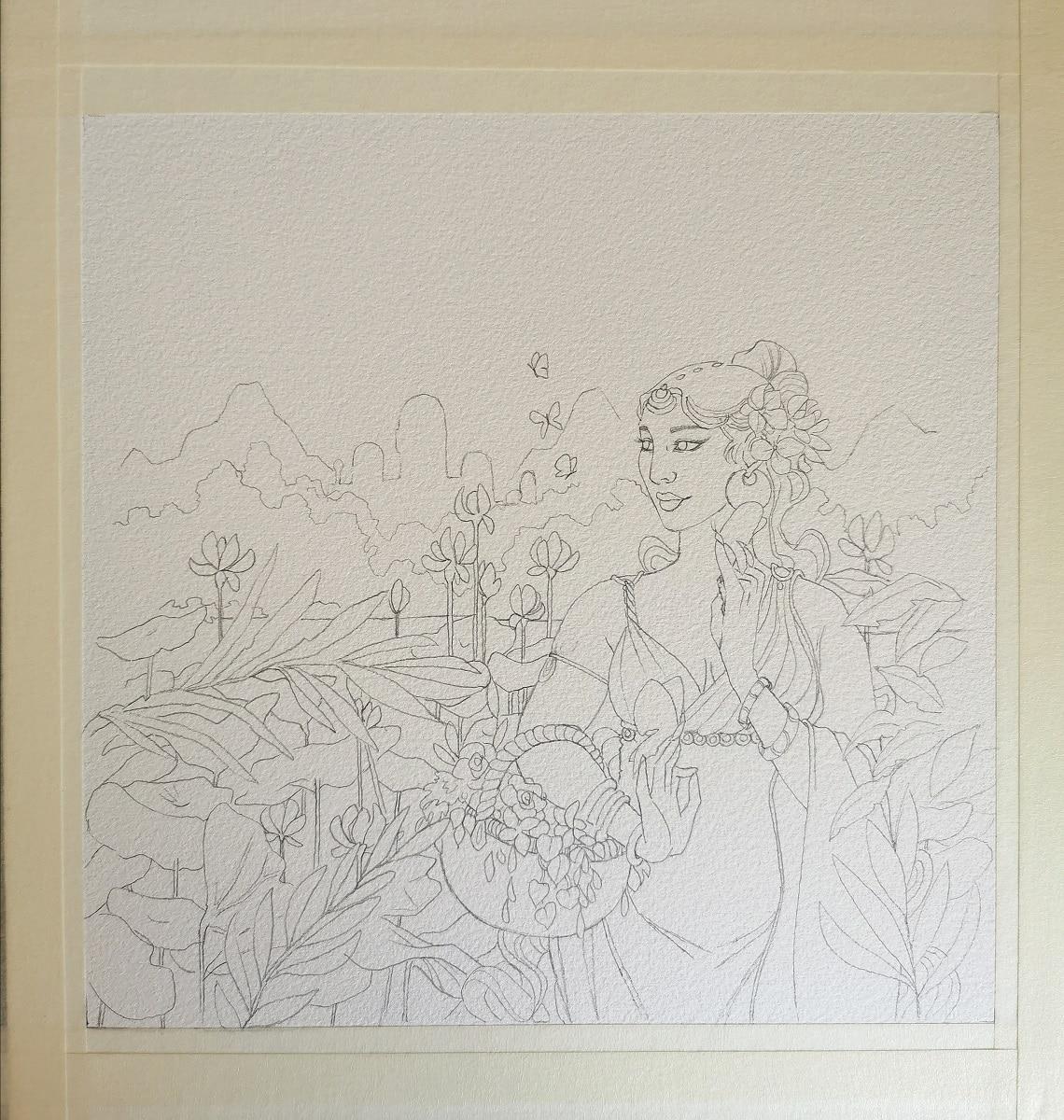 L'esprit de l'été - dessin sur papier aquarelle