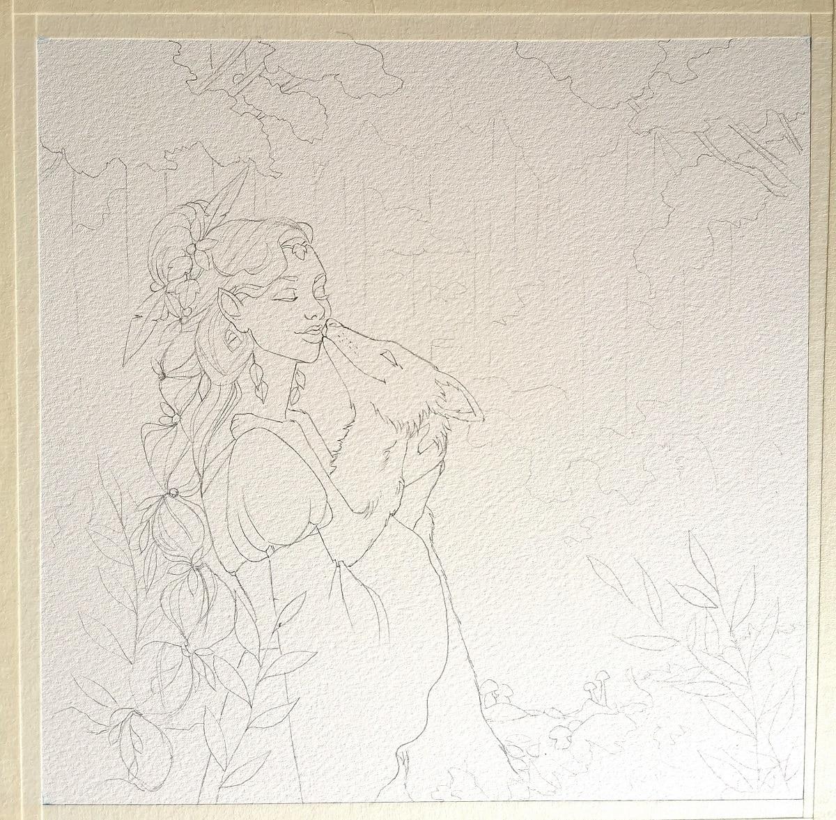 l'esprit de l'automne sur papier aquarelle