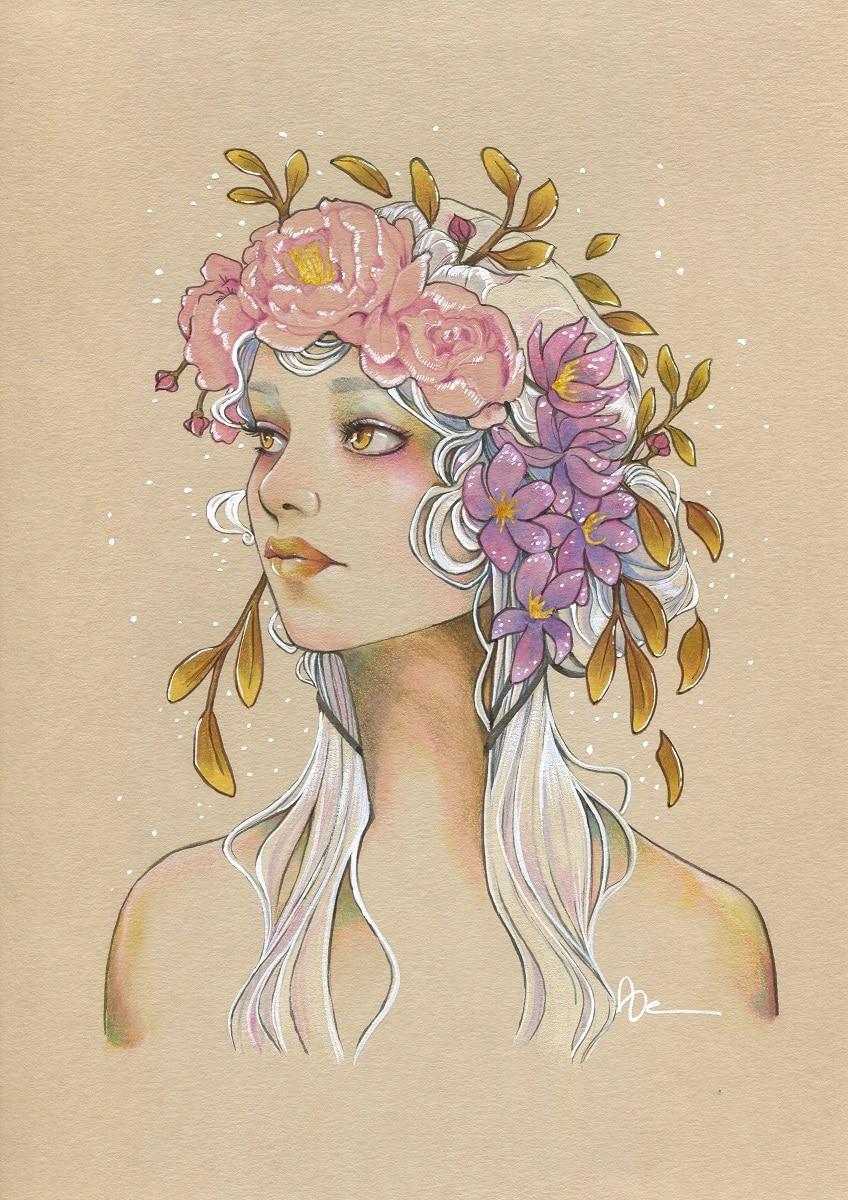 La fille aux yeux d'or - dessin papier naturel original - Aemarielle