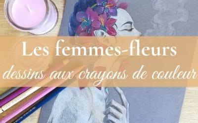Dessin aux crayons de couleur   la série des femmes-fleurs