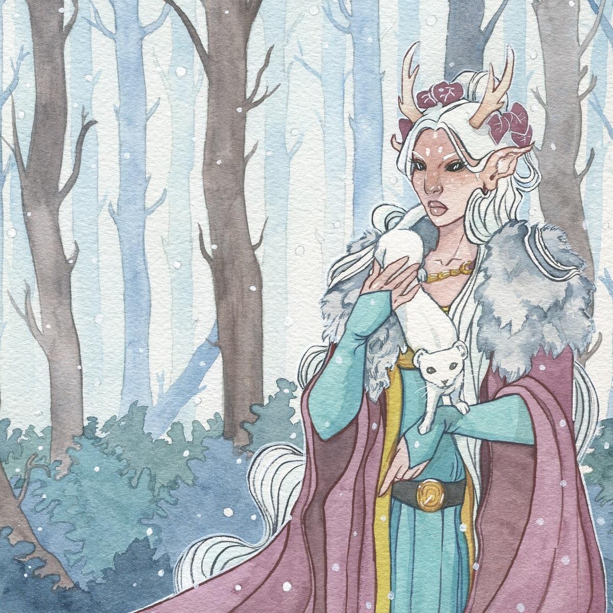 L'esprit de l'hiver - aquarelle originale - aemarielle