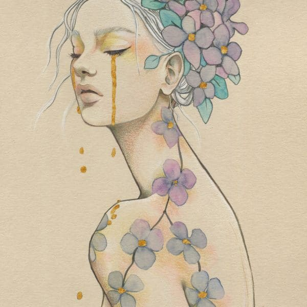 Larme d'or- collection femmes-fleurs- dessin crayons de couleurs