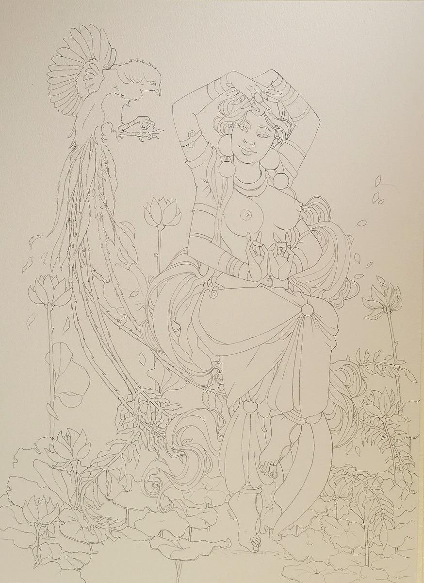 Danse divine - dessin sur papier aquarelle