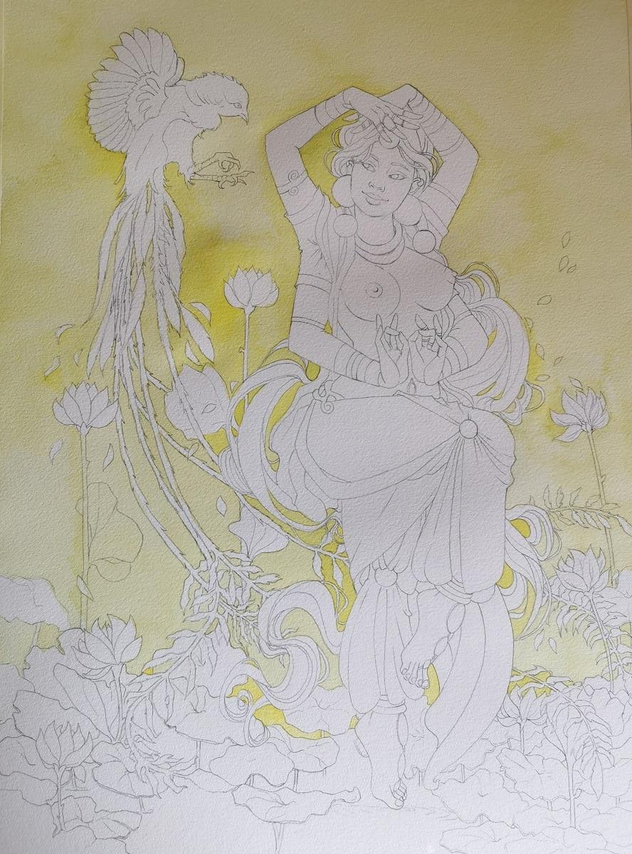 danse divine - fond aquarelle