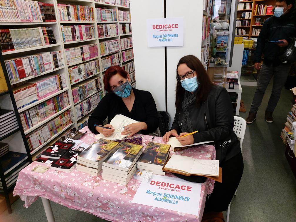 Dédicaces-Aemarielle-Morgane-Scheinmeer-Librairie-Le-Camphrier-Strasbourg