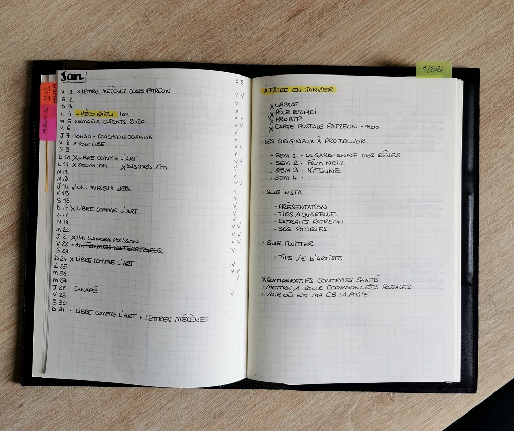 bullet journal minimaliste - vue mensuelle