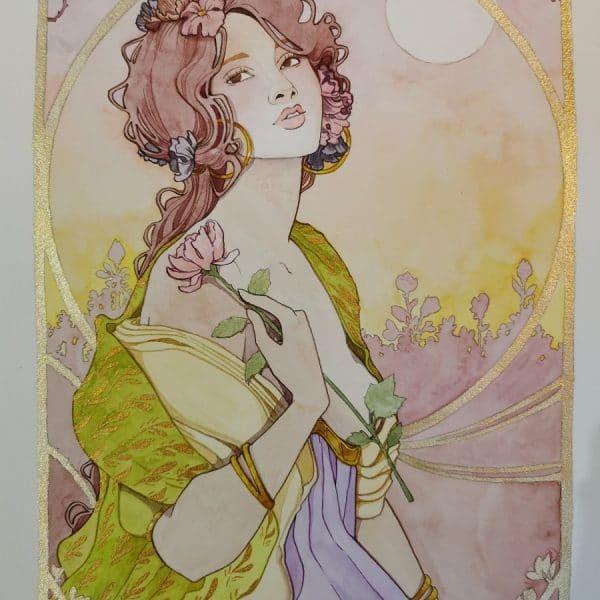 Une fleur à la main - aquarelle- art nouveau - Aemarielle