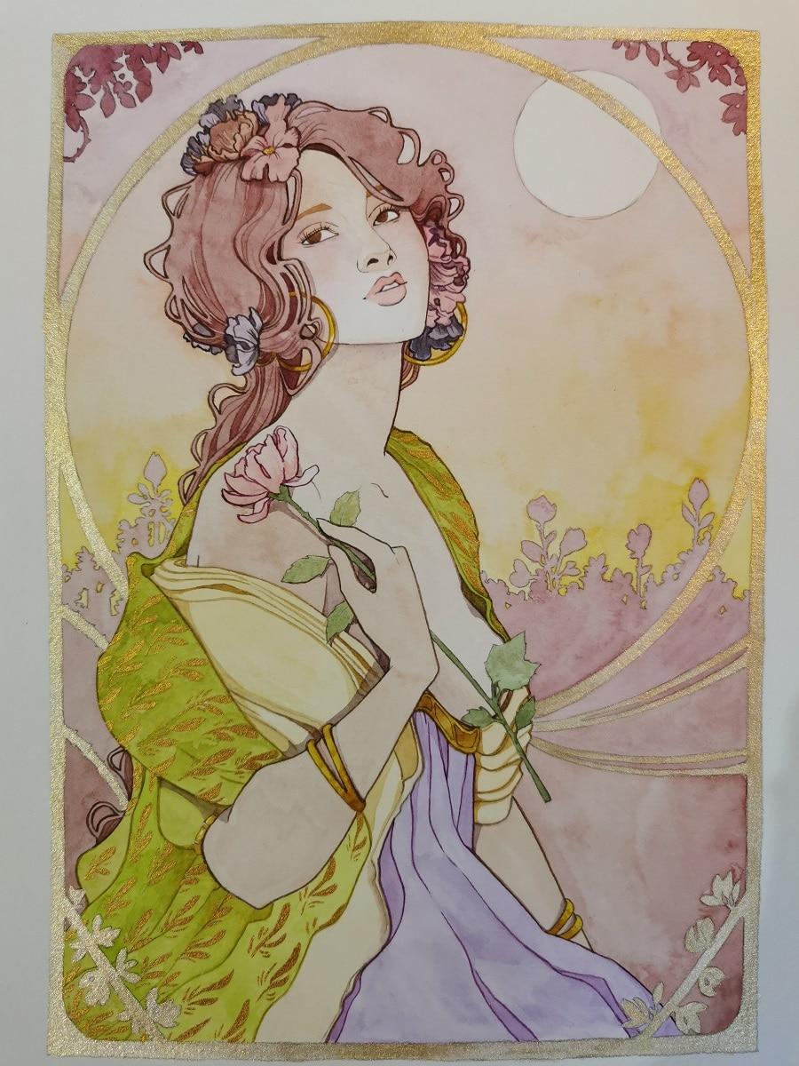 Une fleur à la main - carte postale originale