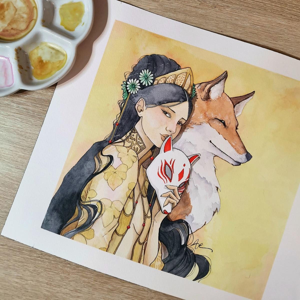 Kitsune-aquarelle-originale