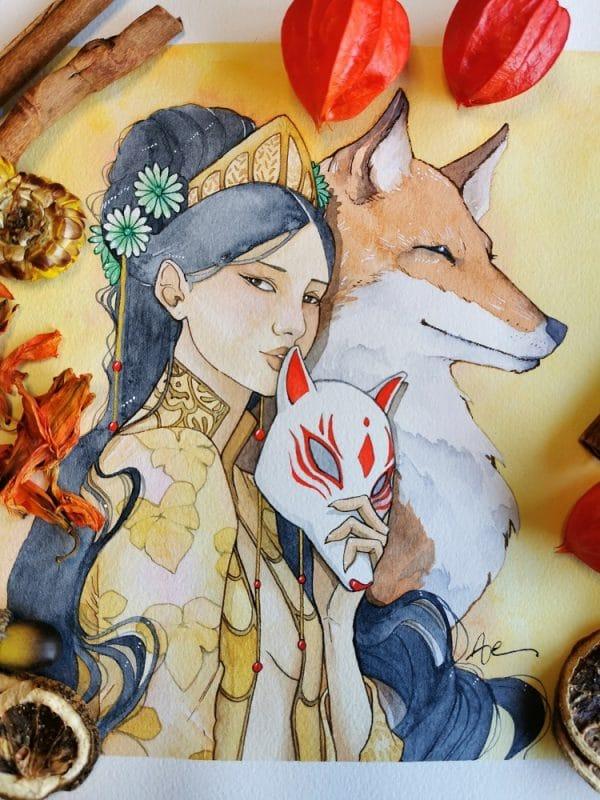 Kitsune - aquarelle fantasy Japon