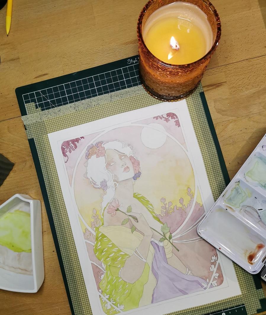 Une fleur à la main - aquarelle en cours
