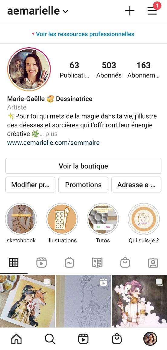 Vendre sur Instagram - onglet boutique