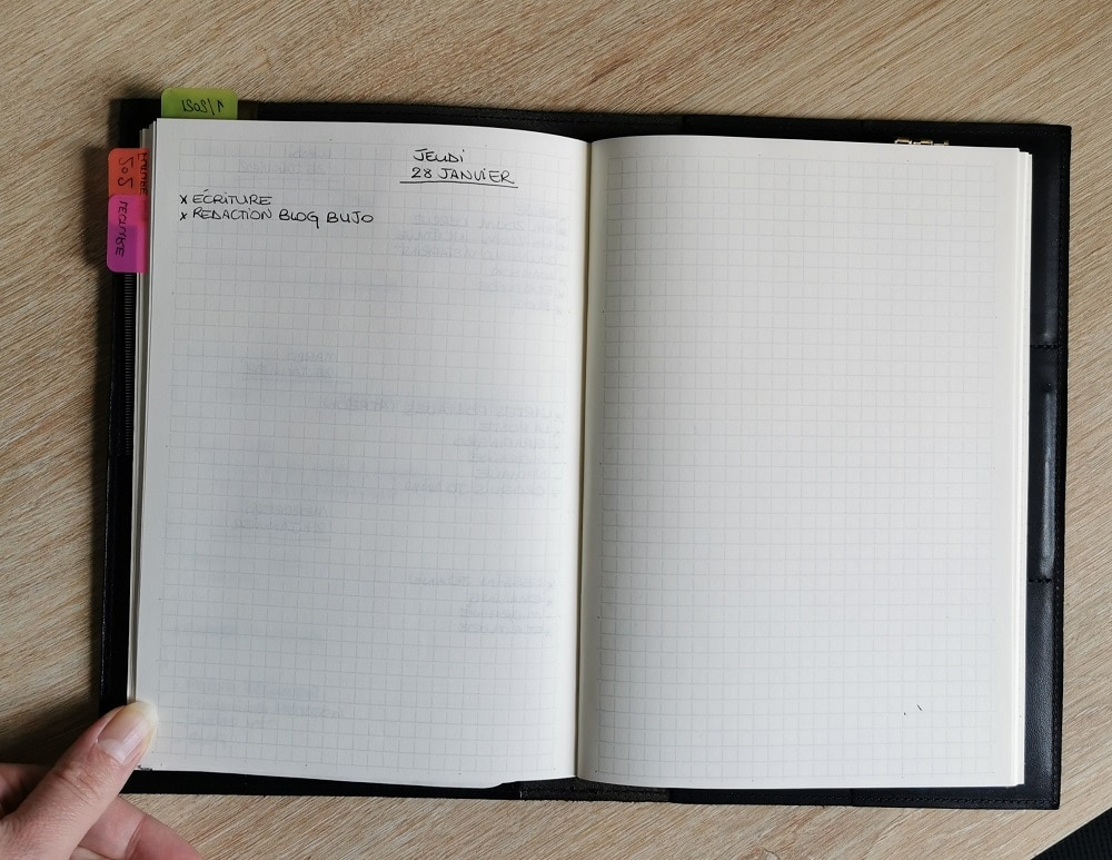 bullet journal minimaliste - vue quotidienne
