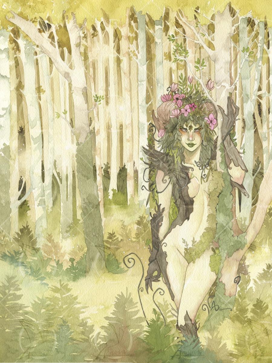 La forêt enchantée - dryade à l'aquarelle