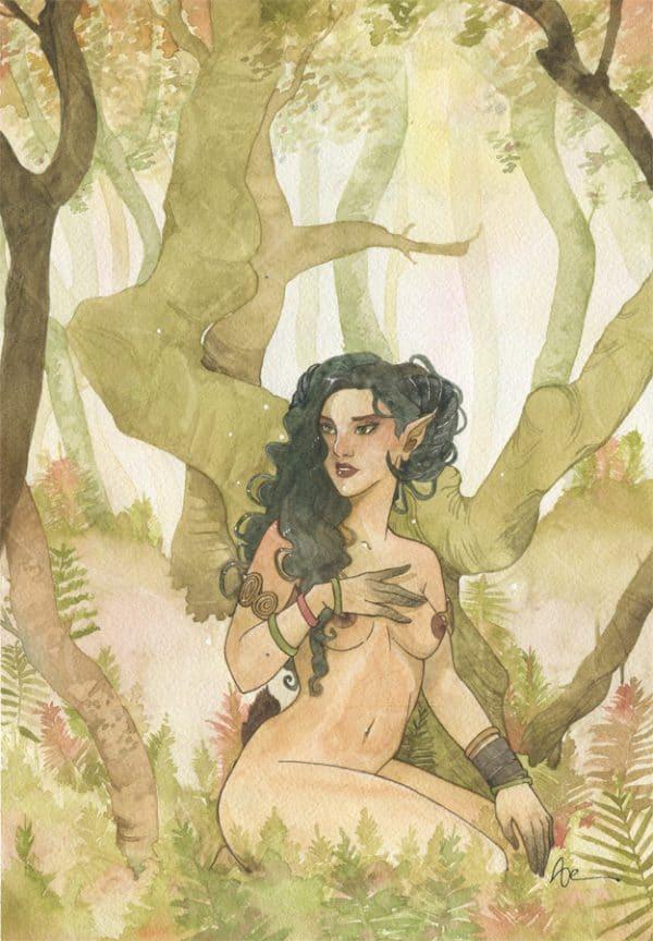 Aquarelle faune dans la forêt -mythologie et fantasy