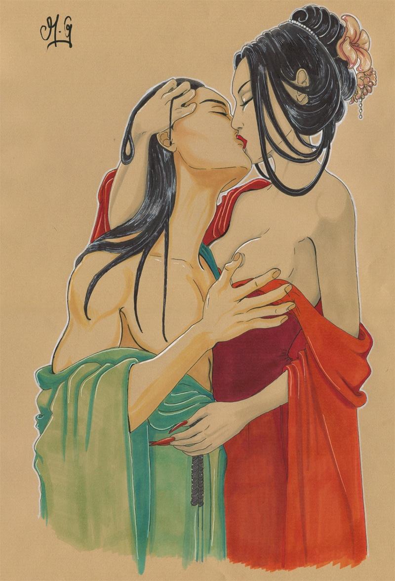 Dernier baiser - dessin sur papier kraft - amants - baiser