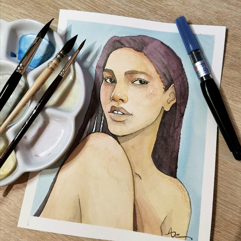 Dessiner un portrait-aquarelle et pinceaux