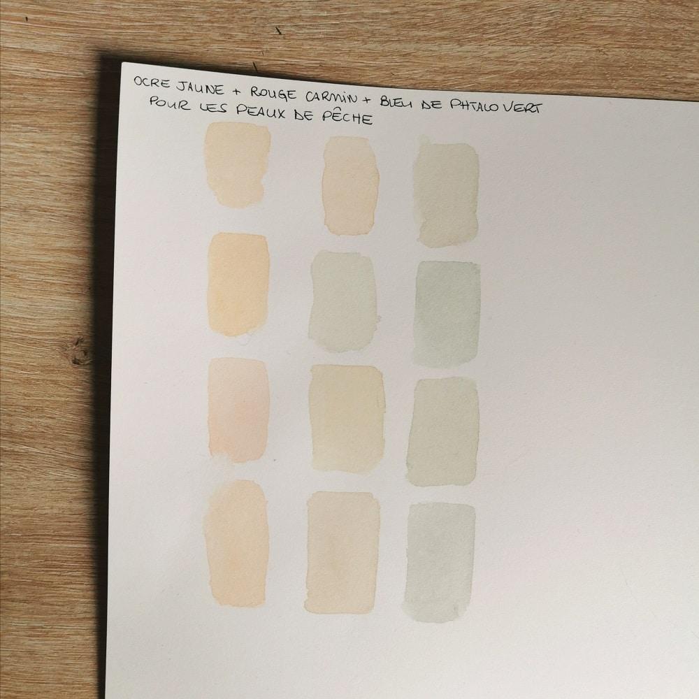 peindre la peau à l'aquarelle -palette de couleurs