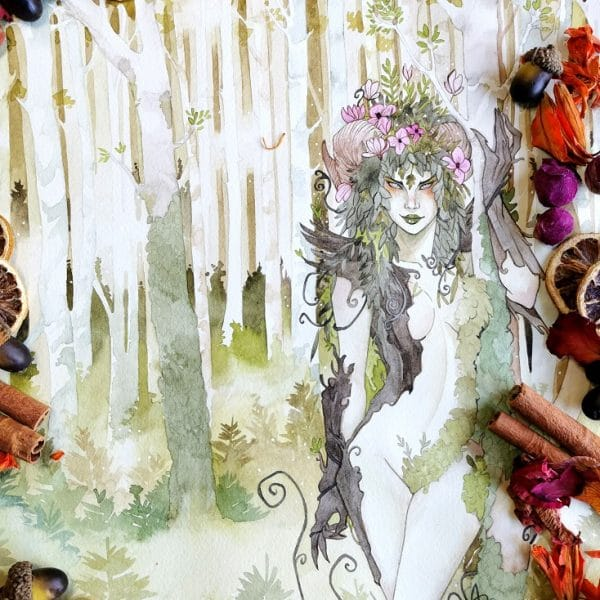 La forêt enchantée - aquarelle fantasy - dryade et esprit des bois