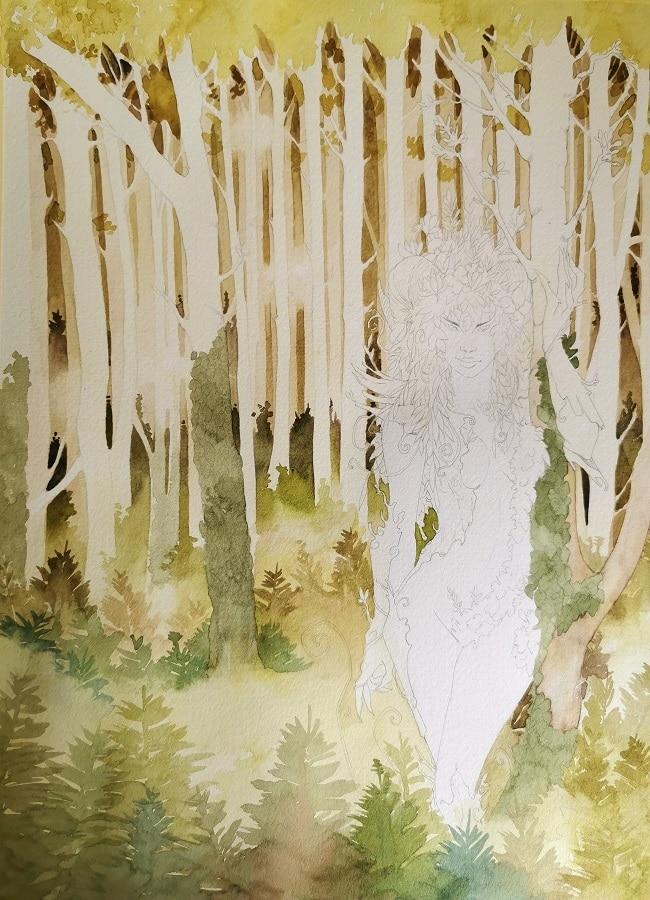 La forêt enchantée - peinture en négatif de la forêt