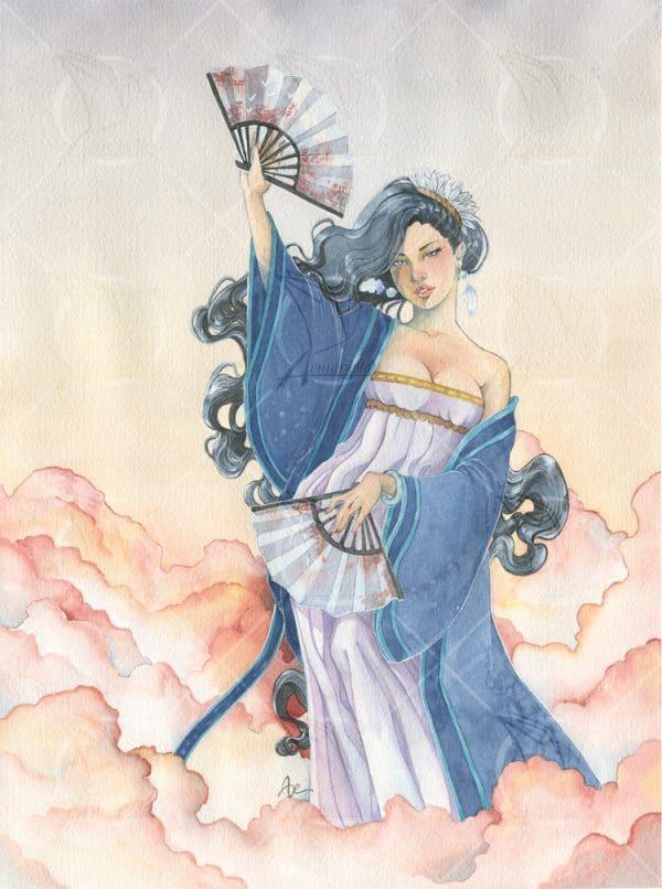 La danseuse des vents - aquarelle originale - sorcière de l'air