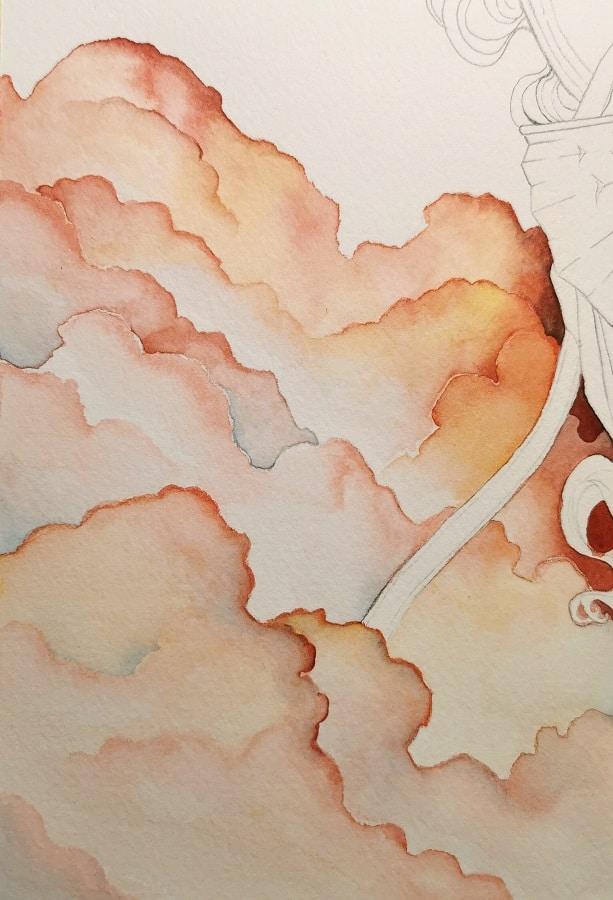 sorcière élmentaliste - nuages -ciel
