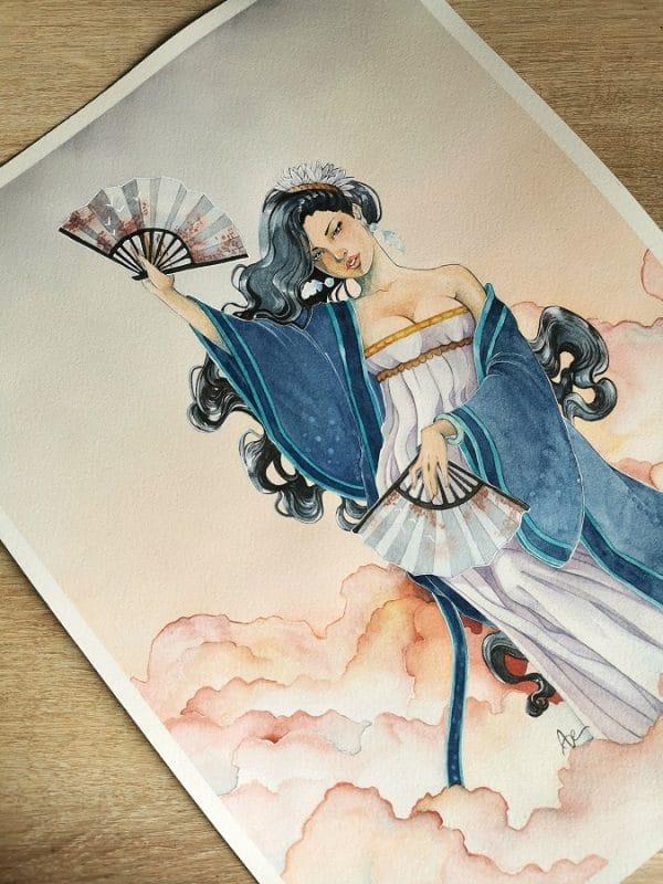 La Danseuse des Vents- illustration-aquarelle originale
